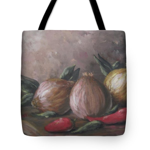 Tote Bag featuring the painting Onions And Peppers by Megan Walsh