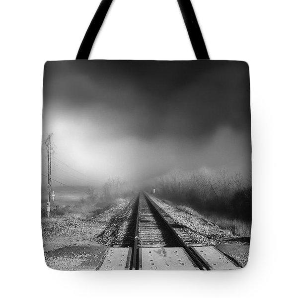 Onward - Railroad Tracks - Fog Tote Bag
