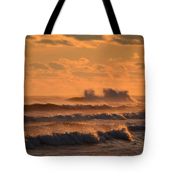 Tote Bag featuring the photograph Opal Beach Sunset Colors With Huge Waves by Jeff at JSJ Photography