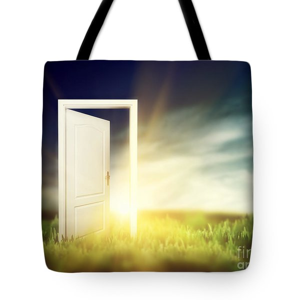 Open Door On The Green Field Tote Bag by Michal Bednarek