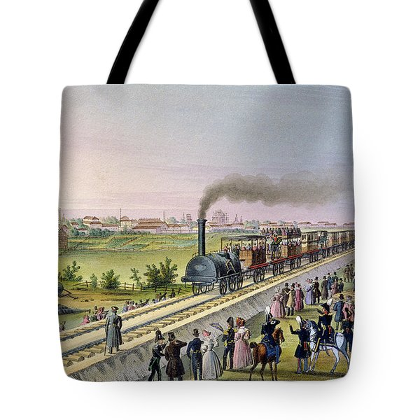Opening Of The First Railway Line From Tsarskoe Selo To Pavlovsk In 1837 Tote Bag