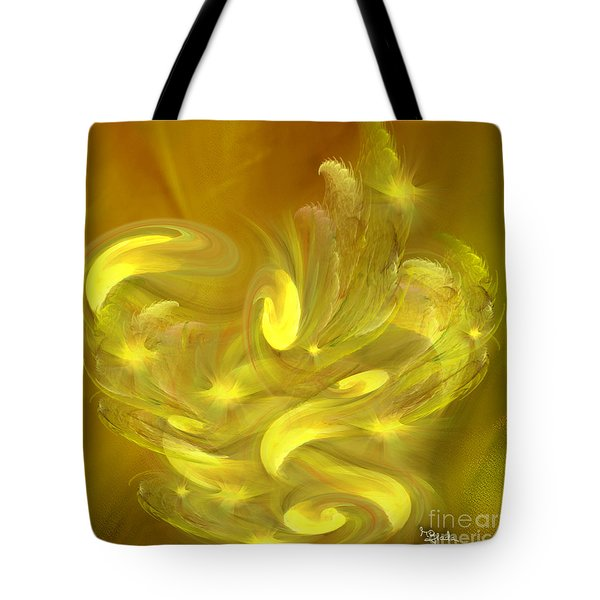 Tote Bag featuring the digital art Optimistic Art - Rhapsody In Yellows By Rgiada by Giada Rossi