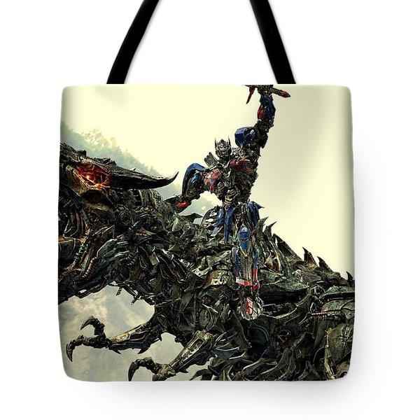 Optimus Prime Riding Grimlock Tote Bag