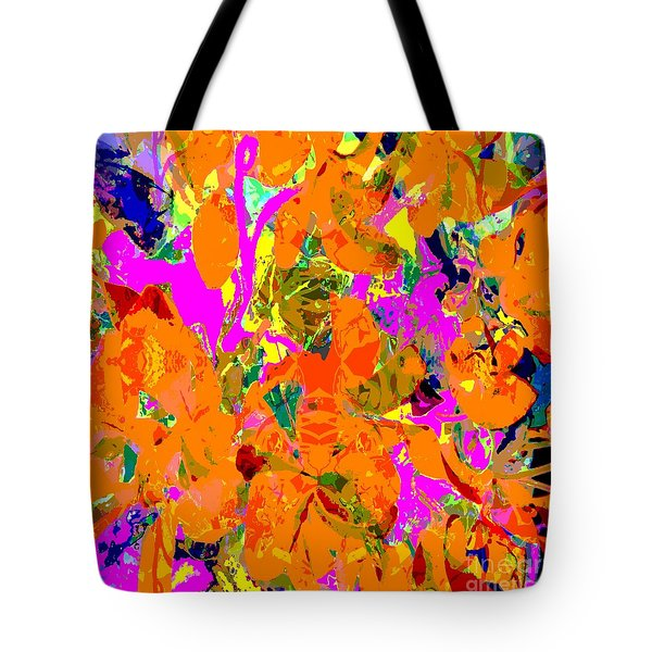 Tote Bag featuring the digital art Orange Abstract by Barbara Moignard