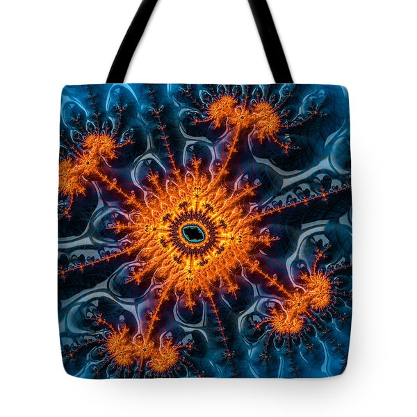 Orange And Blue Abstract Fractal Art Tote Bag by Matthias Hauser
