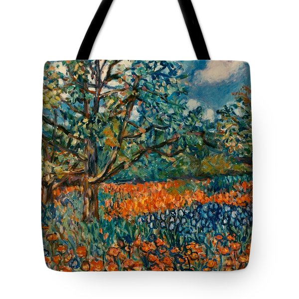 Orange And Blue Flower Field Tote Bag