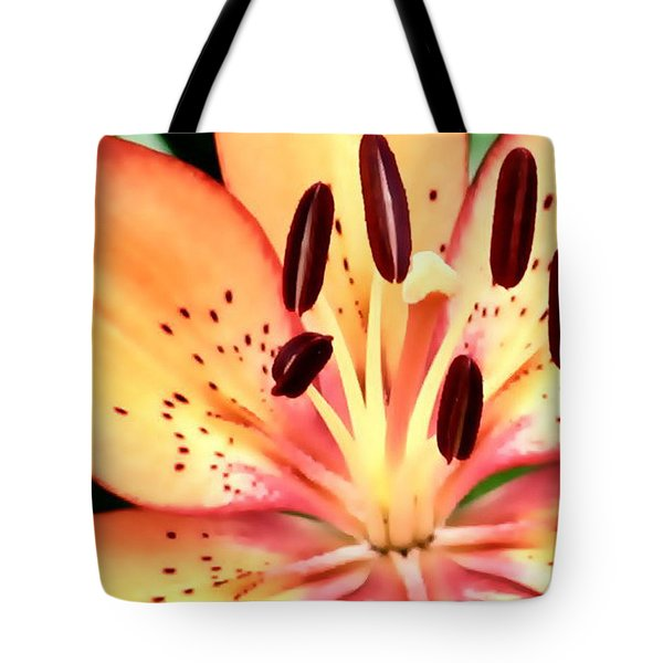 Orange And Pink Flower Tote Bag