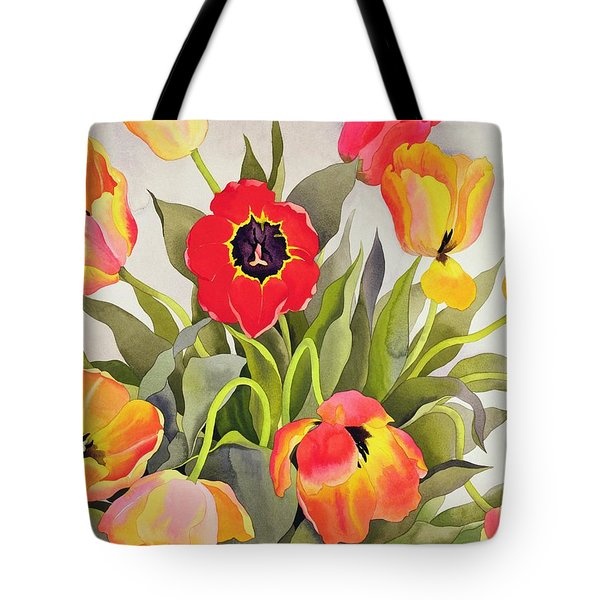 Orange And Red Tulips  Tote Bag by Christopher Ryland
