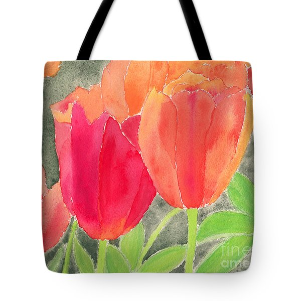 Orange And Red Tulips Tote Bag