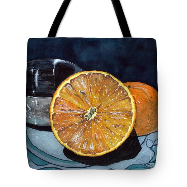 Tote Bag featuring the painting Orange And Silver by Barbara Jewell