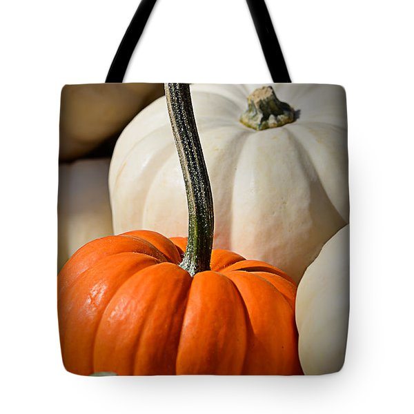 Orange And White Pumpkins Tote Bag by Julie Palencia