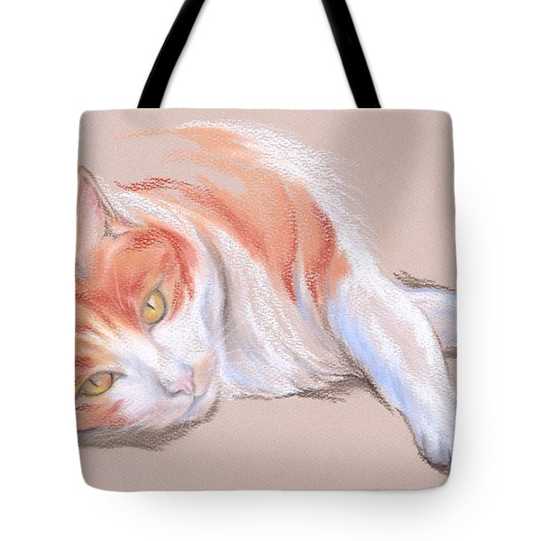 Orange And White Tabby Cat With Gold Eyes Tote Bag
