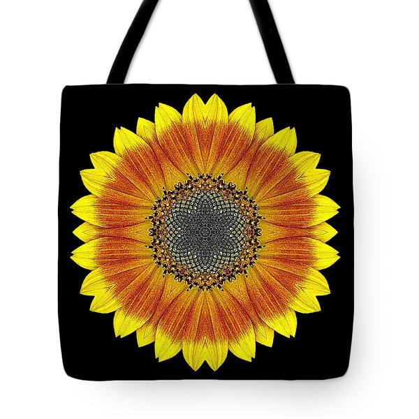Orange And Yellow Sunflower Flower Mandala Tote Bag