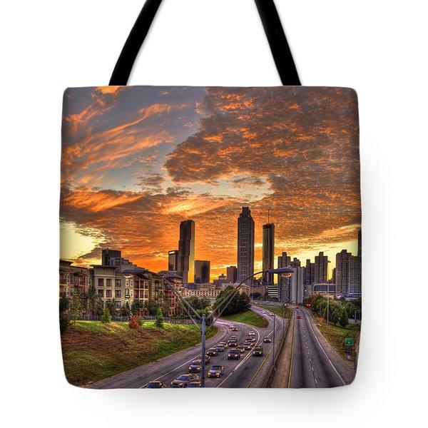 Orange Atlanta Sunset Tote Bag