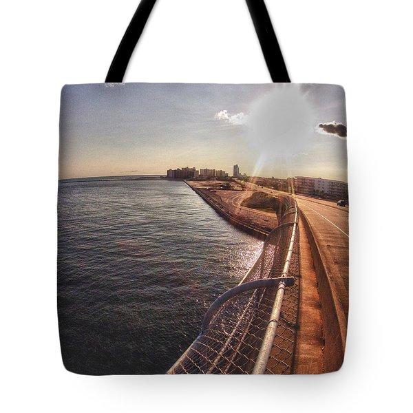 Tote Bag featuring the digital art Orange Beach From Perdido Bridge by Michael Thomas