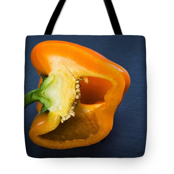 Orange Bell Pepper Blue Texture Tote Bag
