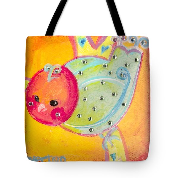 Orange Birdy Tote Bag