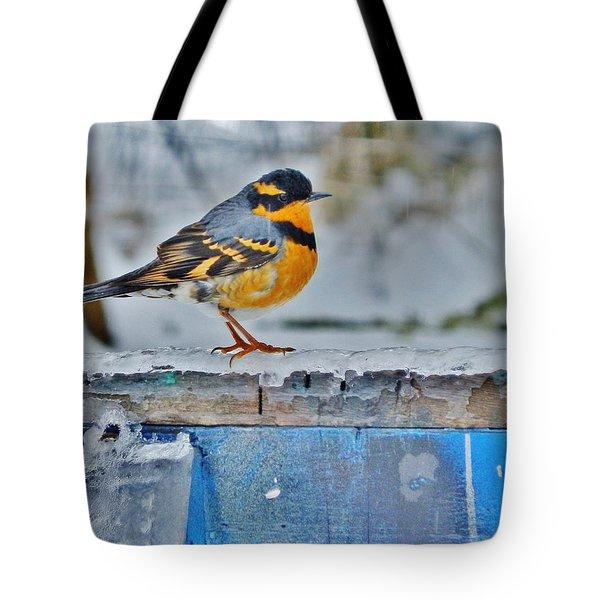 Orange Blue And Sleet Tote Bag by VLee Watson