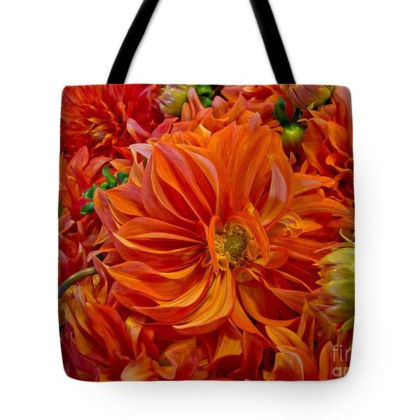 Orange Bouquet Tote Bag by Arlene Carmel
