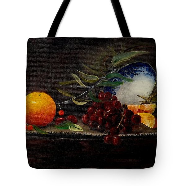 Orange Bowl Grapes Branch Tote Bag