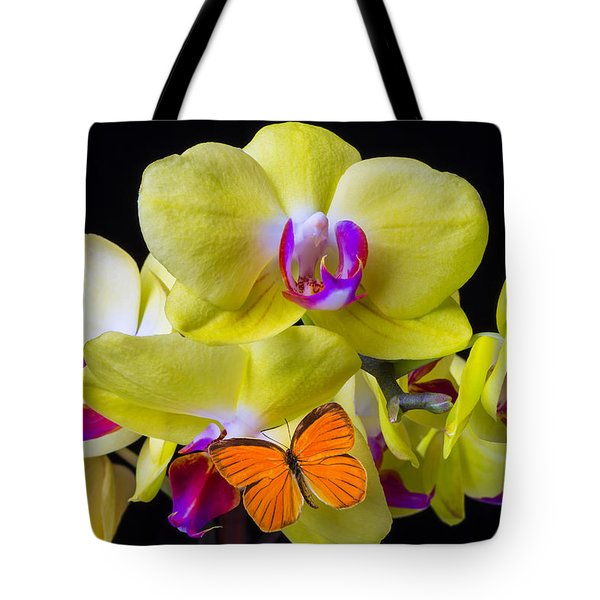 Orange Butterfly And Yellow Orchids Tote Bag