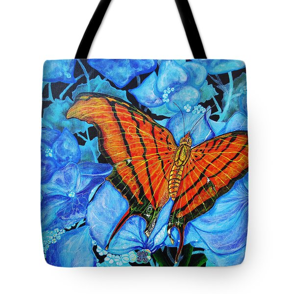 Tote Bag featuring the painting Orange Butterfly by Debbie Chamberlin