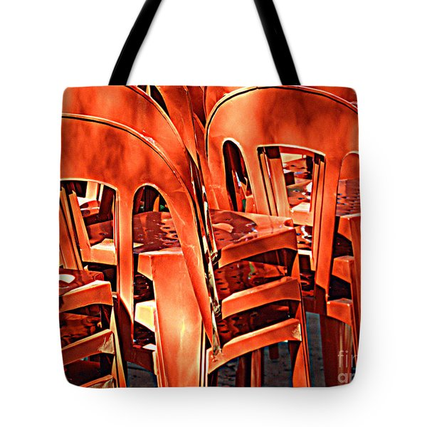 Orange Chairs Tote Bag