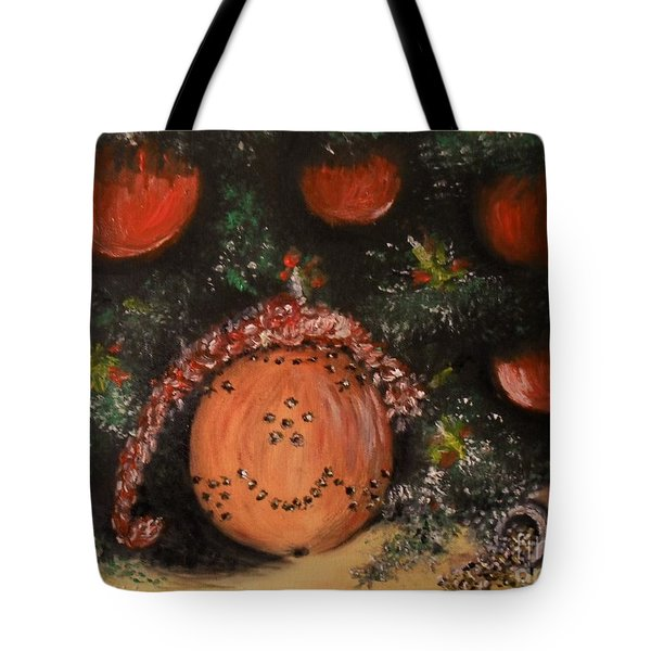Tote Bag featuring the painting Orange Clover Christmas by Laurie L