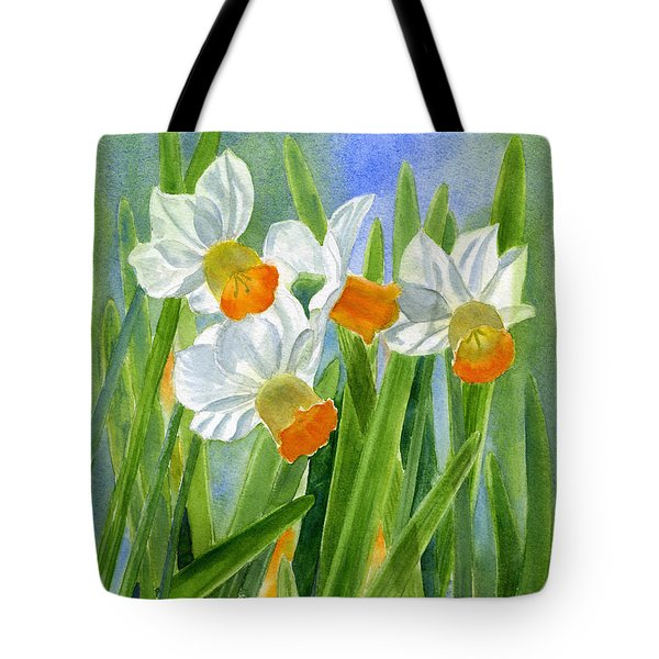 Orange Daffodils With Background Tote Bag by Sharon Freeman