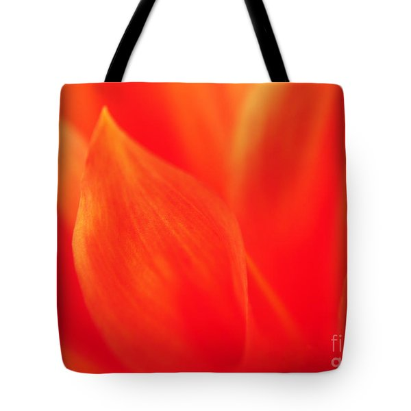 Tote Bag featuring the photograph Orange Dahlia Abstract by Olivia Hardwicke
