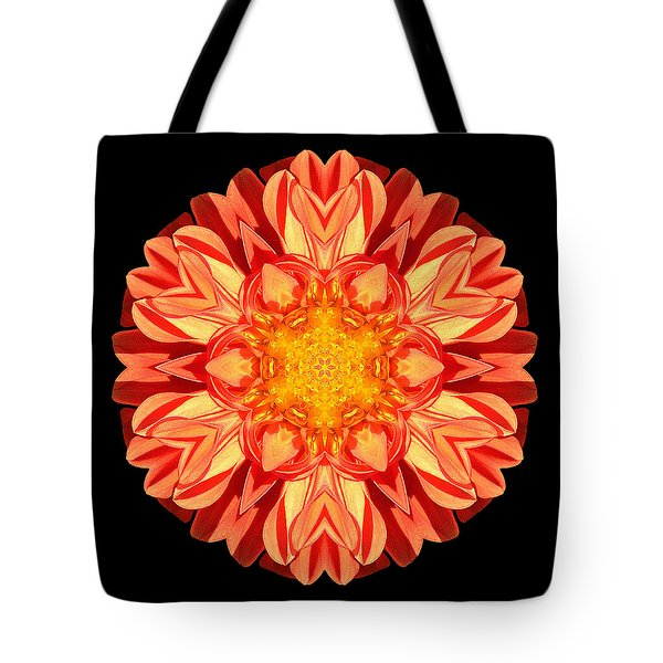 Orange Dahlia Flower Mandala Tote Bag