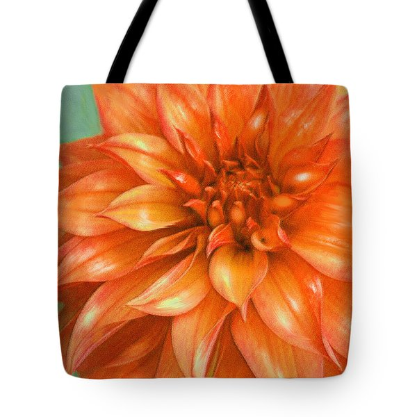 Tote Bag featuring the digital art Orange Dahlia by Jane Schnetlage