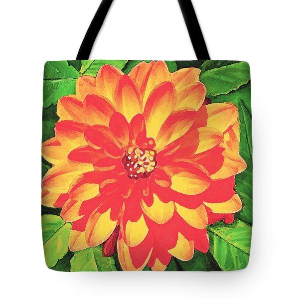 Tote Bag featuring the painting Orange Dahlia by Sophia Schmierer