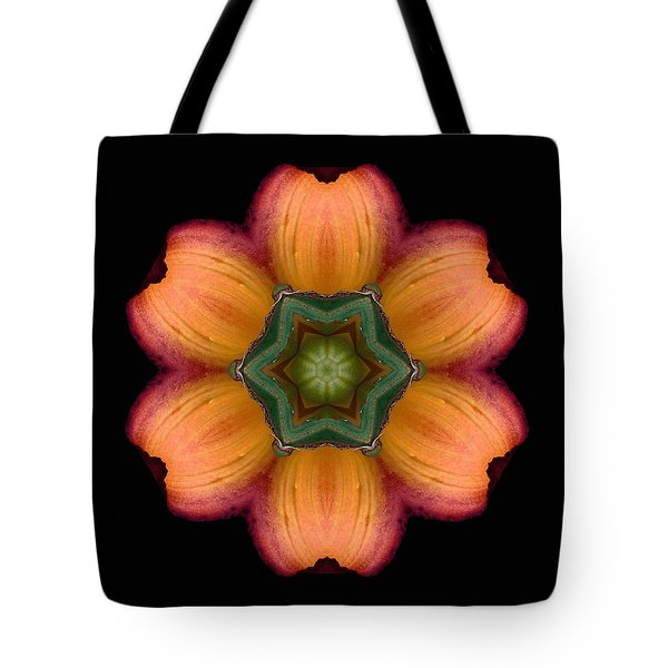 Orange Daylily Flower Mandala Tote Bag
