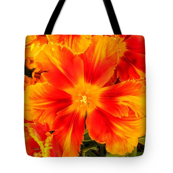 Orange Flames Tote Bag