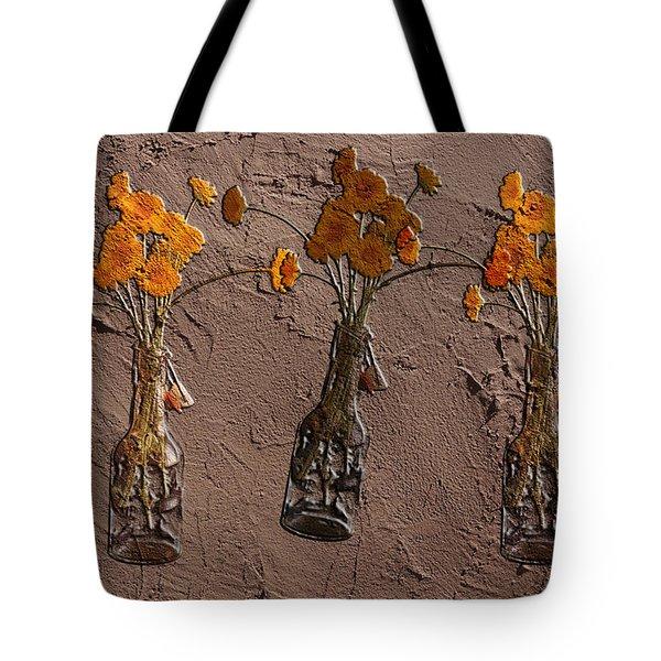 Orange Flowers Embedded In Adobe Tote Bag by Don Gradner