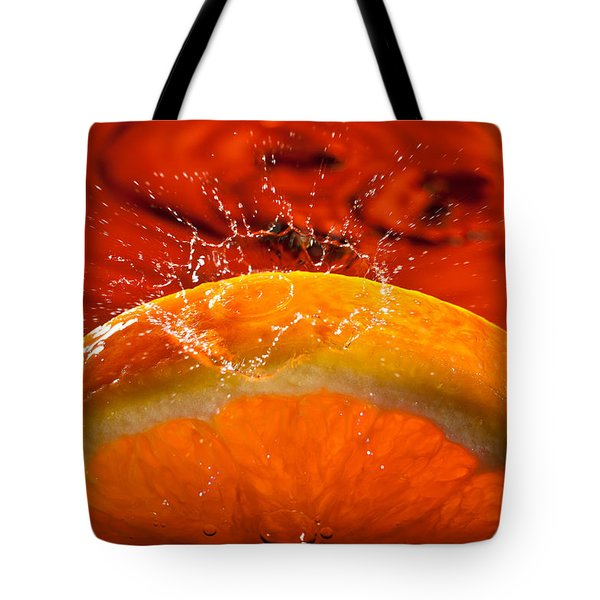 Orange Freshsplash 2 Tote Bag by Steve Gadomski