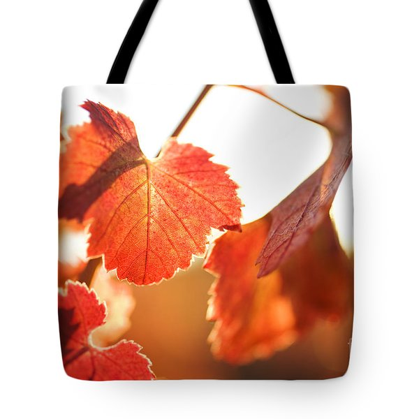 Orange Grapevine Leaves Tote Bag