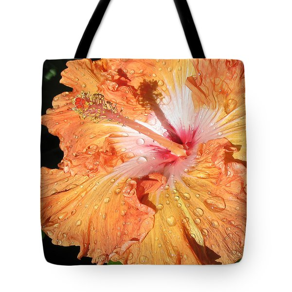 Orange Hibiscus After The Rain Tote Bag by Connie Fox