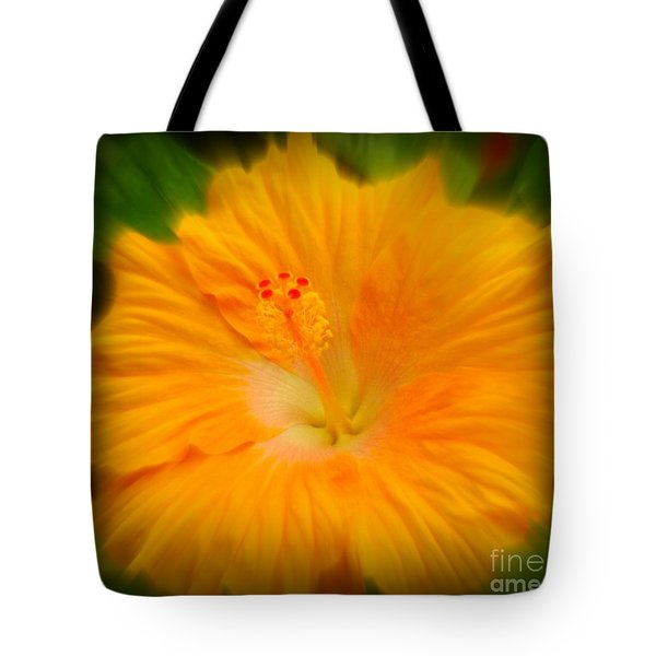Tote Bag featuring the photograph Orange Hibiscus Flower by Clare Bevan