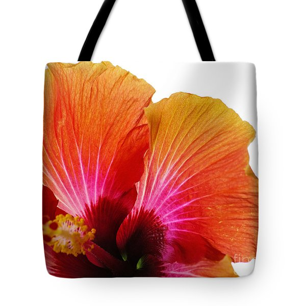 Tote Bag featuring the photograph Orange Hibiscus Flower by Sally Simon