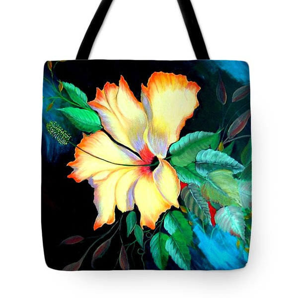 Tote Bag featuring the painting Orange Hibiscus by Fram Cama