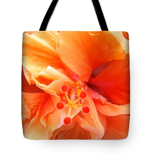 Orange Hibiscus Tote Bag