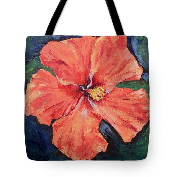 Orange Hibiscus Tote Bag