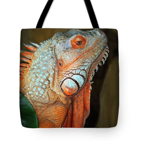 Tote Bag featuring the photograph Orange Iguana by Patrick Witz