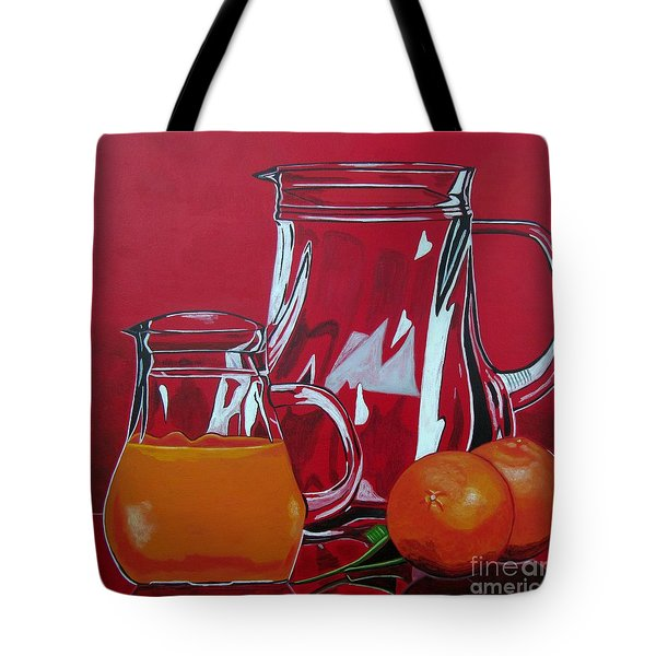 Orange Juggle Tote Bag by Sandra Marie Adams