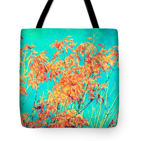 Orange Leaves And Turquoise Sky  Tote Bag by Elizabeth Budd
