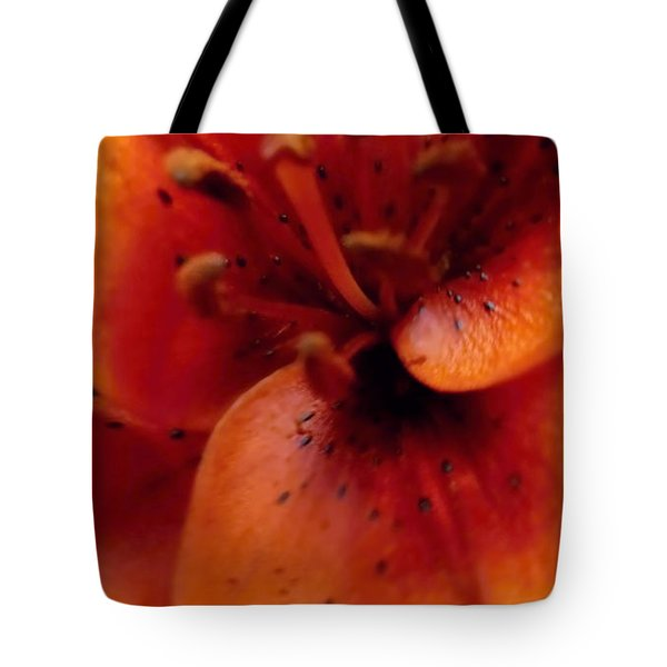 Orange Macro Modern Lily Tote Bag by Danielle  Parent