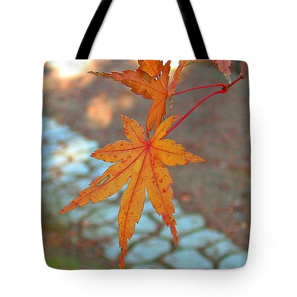 Orange Maple Leaves Tote Bag by Lorna Hooper