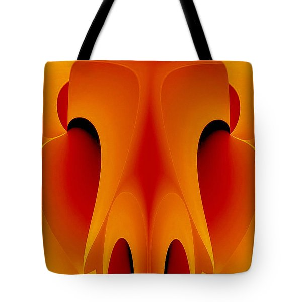 Tote Bag featuring the mixed media Orange Mask by Rafael Salazar